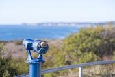 Blau-teleskop auf der küste von malibu — Stockfoto