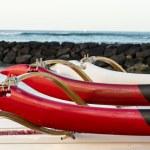 Постер, плакат: Sunrise over hawaiian canoes from Waikiki Hawaii