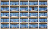 Pattern of hotel room balconies — Stock Photo