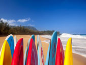 Surfboards at Lumahai beach Kauai — Stock Photo