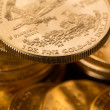 Collection of one ounce gold coins — Stock Photo