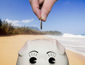 Saving money in piggy bank with fingers — Foto Stock