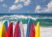 Surfboards at Lumahai beach Kauai — Stock Photo