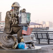 Firefighter statue at Exchange Place Jersey City — Stock Photo
