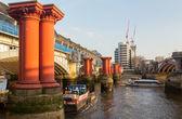 Underneath Blackfriars Bridge in London with boat — Stock Photo