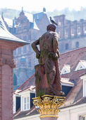 Statue of Hercules in market square Heidelberg Germany — Stock Photo