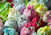 Close up bags of Lavender in gift pouches — Stock Photo