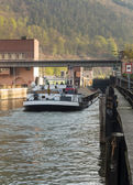 Locks on river Neckar by Hirschhorn Hesse Germany — Stockfoto