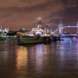 HMS Belfast on River Thames — 图库照片