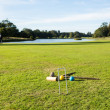 Croquet set on english lawn — Stock Photo