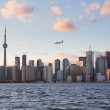 Stock Photo: Turbo prop aircraft landing at Billy Bishop airport