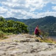 Female hiker overlooking Thirlmere — Stock Photo