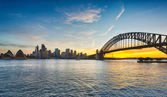 Dramatic panoramic sunset photo Sydney harbor — Stock Photo
