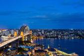 Dramatic panoramic night photo Sydney harbor — Stock Photo