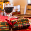 English Christmas table with crackers — Stock Photo #38175895