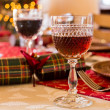 Stock Photo: English Christmas table with sherry glass
