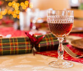 English Christmas table with sherry glass — Stock Photo