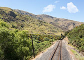 Railway track up Taieri Gorge New Zealand — Stock Photo