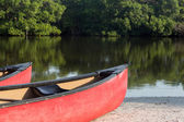 Prows or front of two plastic kayaks or canoes — Stock Photo