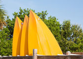 Prows or front of three plastic kayaks or canoes — Stock Photo