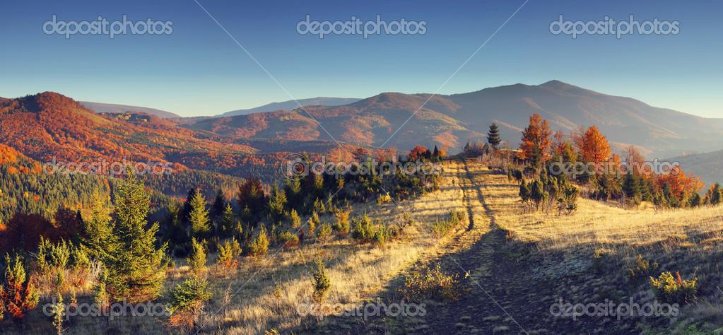 与多彩森林山秋天风景– 图库图片