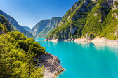 Piva Canyon with its fantastic reservoir. — Stock Photo