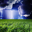 Stock Photo: Thunderstorm with lightning in green meadow