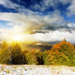 Mountain with first winter snow in october — Stock Photo
