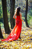Woman in the autumn park — Foto Stock