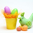 Stock Photo: Easter eggs and chickens