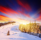 Sunset in the winter mountains — Foto de Stock