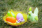 Colorful Easter eggs and chick — Stock Photo