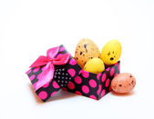 Easter eggs in the box — Stock Photo