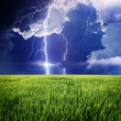 Stock Photo: Thunderstorm in green meadow.