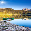 Mountain lakes and boats — Stok fotoğraf
