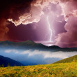 Stock Photo: Thunderstorm in mountains