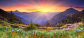 Sunset in the mountains landscape — Stock Photo