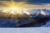 Sunset in the winter mountains — Stock Photo