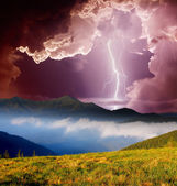 Thunderstorm in mountains — Stock Photo