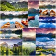 Creative collage of mountain lake — Stock Photo #49185151
