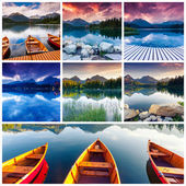 Collage of mountain lake in National Park — Stock Photo