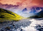 Fantastic landscape and overcast sky — Stock Photo