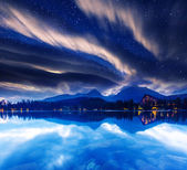 Milky Way over the lake — Stock Photo