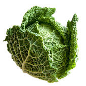 Green cabbage isolated on white background. — Stock Photo