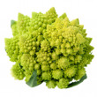 Stock Photo: One whole Romanesco broccoli (Brassica oleracea) on a white background.