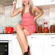 Woman in the kitchen preparing food for the holiday. — Stock Photo