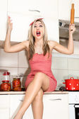 Woman in the kitchen preparing food for the holiday. — ストック写真