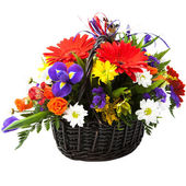 Beautiful bouquet of colorful spring flower in a basket. — Stock Photo