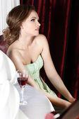 Fashion woman retro portrait in a restaurant. — Stock Photo