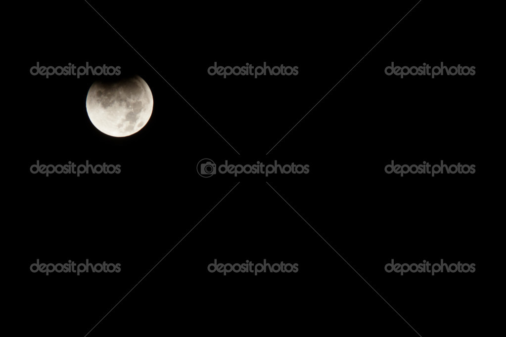 Lunar eclipse occurs when the Moon passes behind the Earth so that the Earth blocks the Sun's rays from striking the Moon.  Stock Photo #12676511
